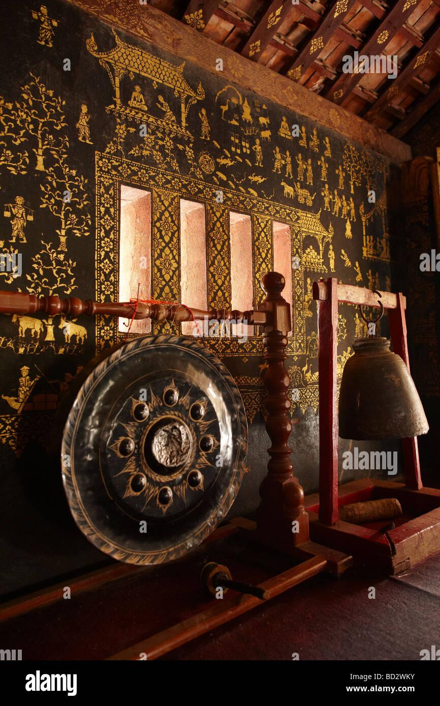detail of a bell gong inside Wat Mai Luang Prabang Laos - Stock Image