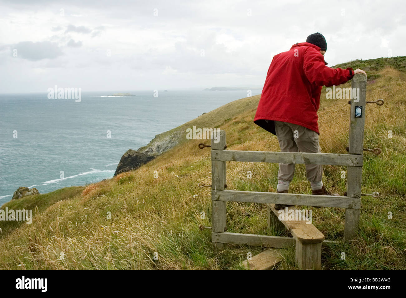 A female walker on the South West Coastal Path at Trevose Head, Cornwall, England - Stock Image