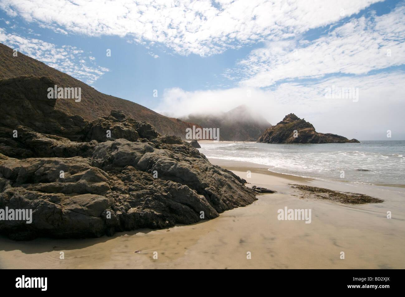 morning fog at Pfeiffer State Beach Big Sur California - Stock Image