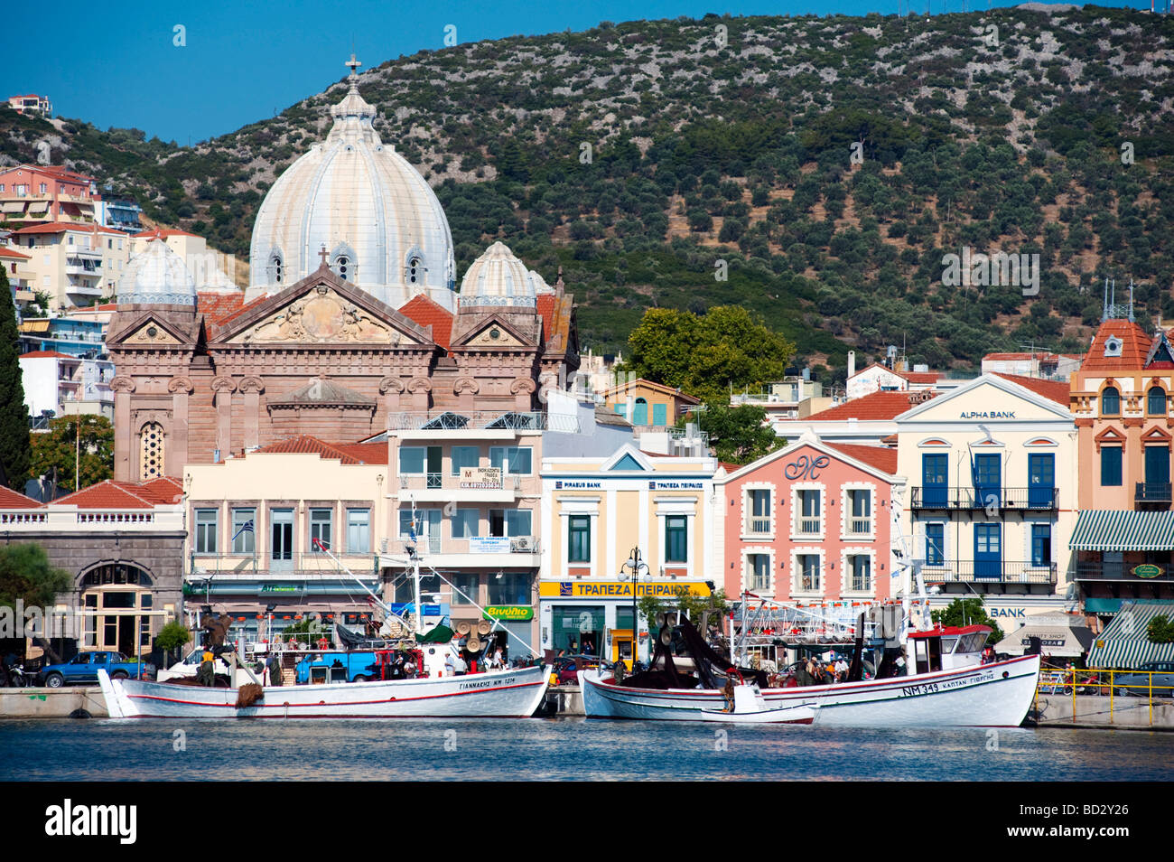 Church and Harbour in Mytilini town on Lesvos Island in Greece - Stock Image