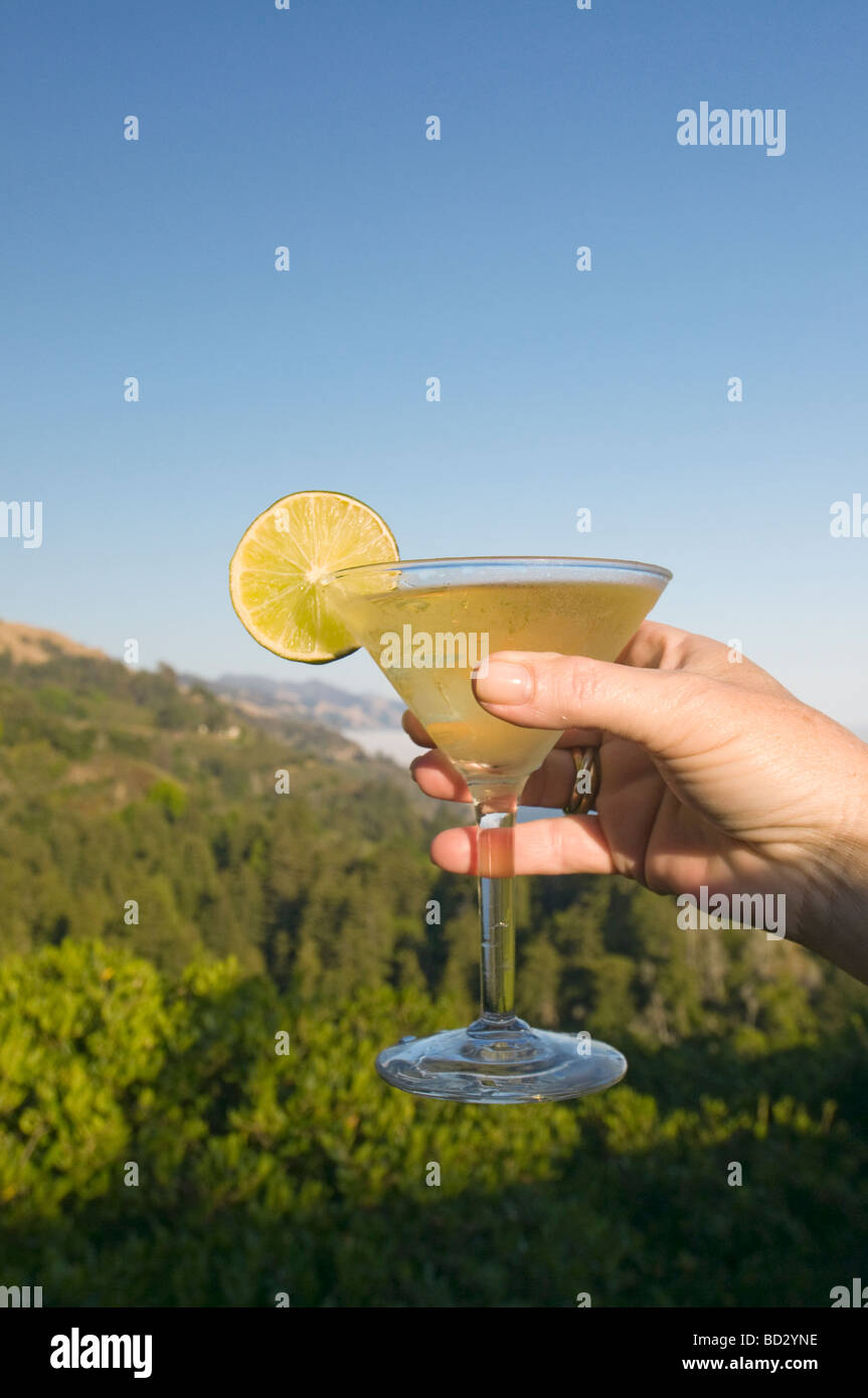 Cocktail at Nepenthe restaurant overlooking  Big Sur California coast - Stock Image