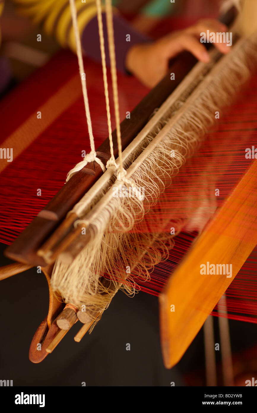 silk weaving, Luang Prabang, Laos - Stock Image