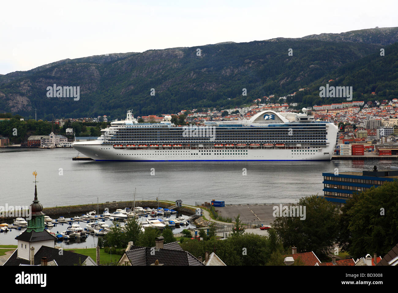 The Cruise Liner 'Crown Princess' visiting Bergen, Norway - Stock Image