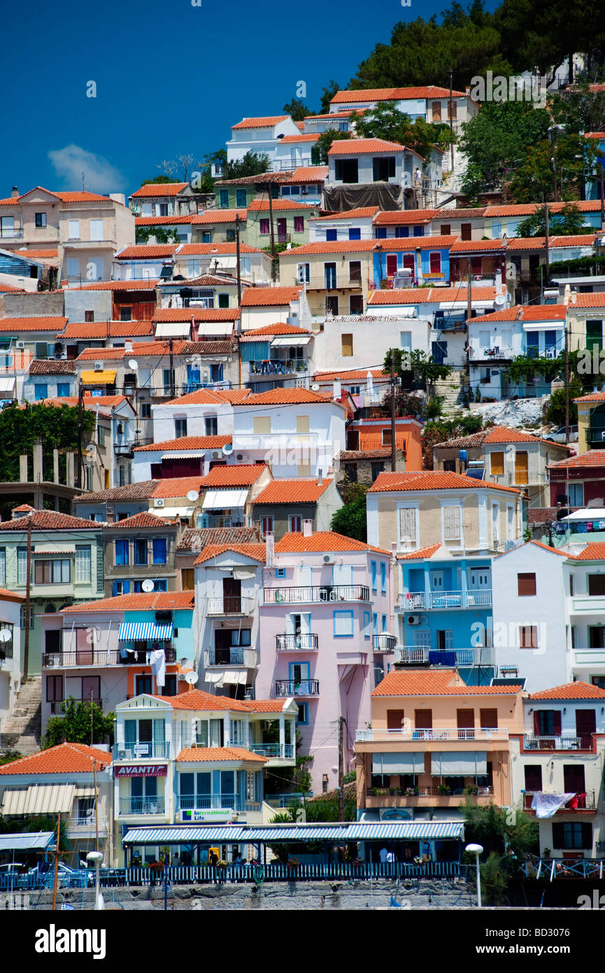 View of town of Plomari on Greek Island of Lesvos in the Aegean - Stock Image