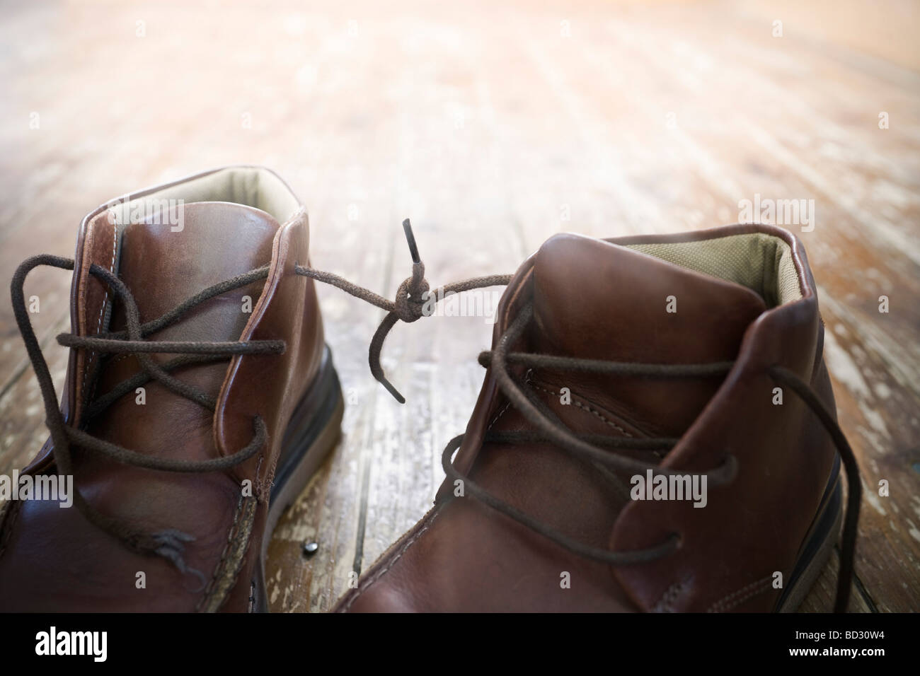 Tied Knot Stock Photos Images Alamy Redknot Shoes Tech Brown Boot Laces Together Image