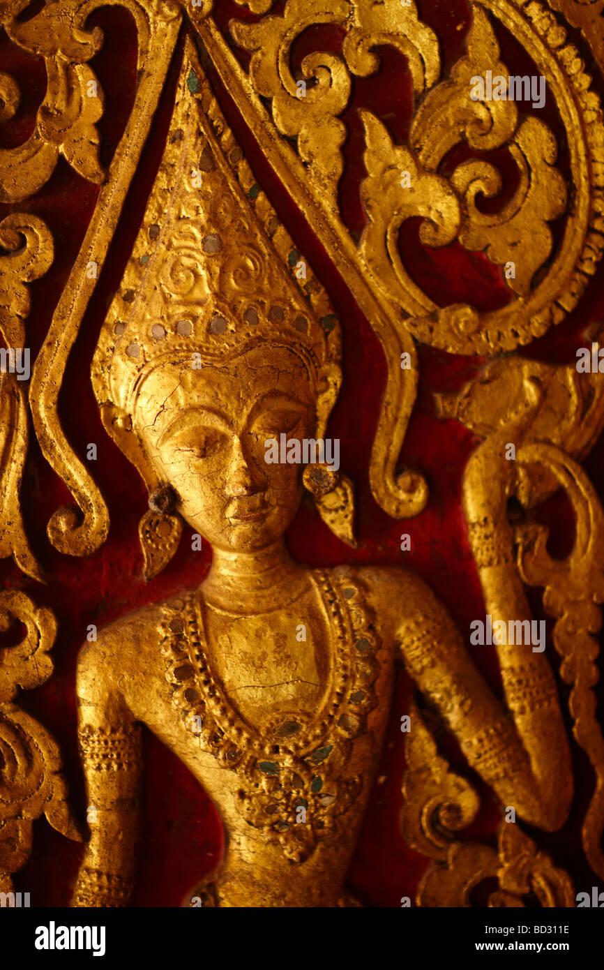 detail of a carving inside Wat Mai, Luang Prabang, Laos - Stock Image
