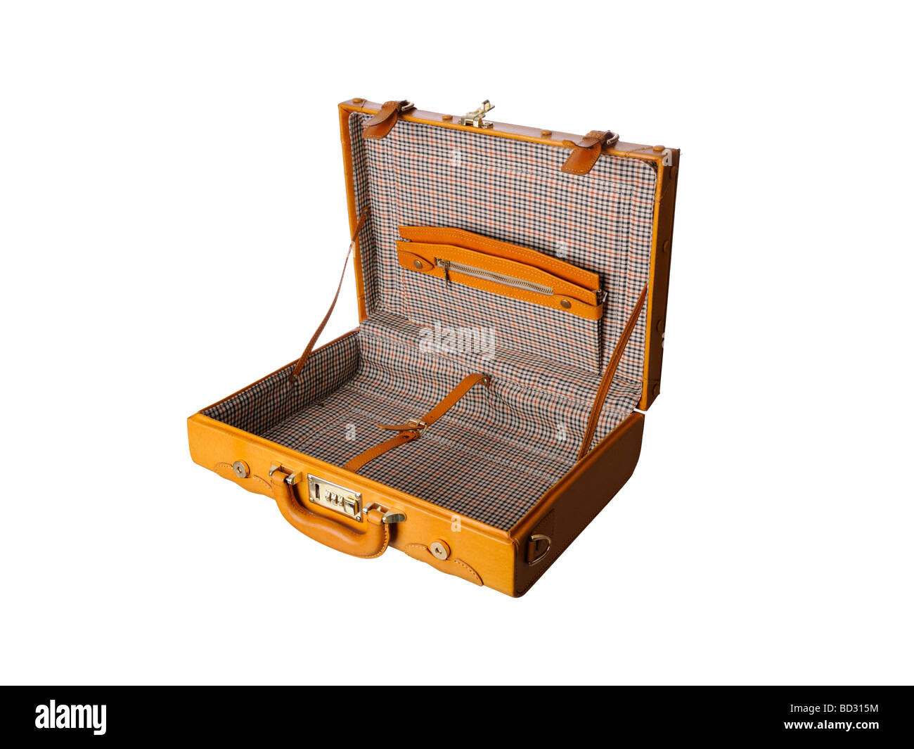 empty open Leather briefcase - Stock Image