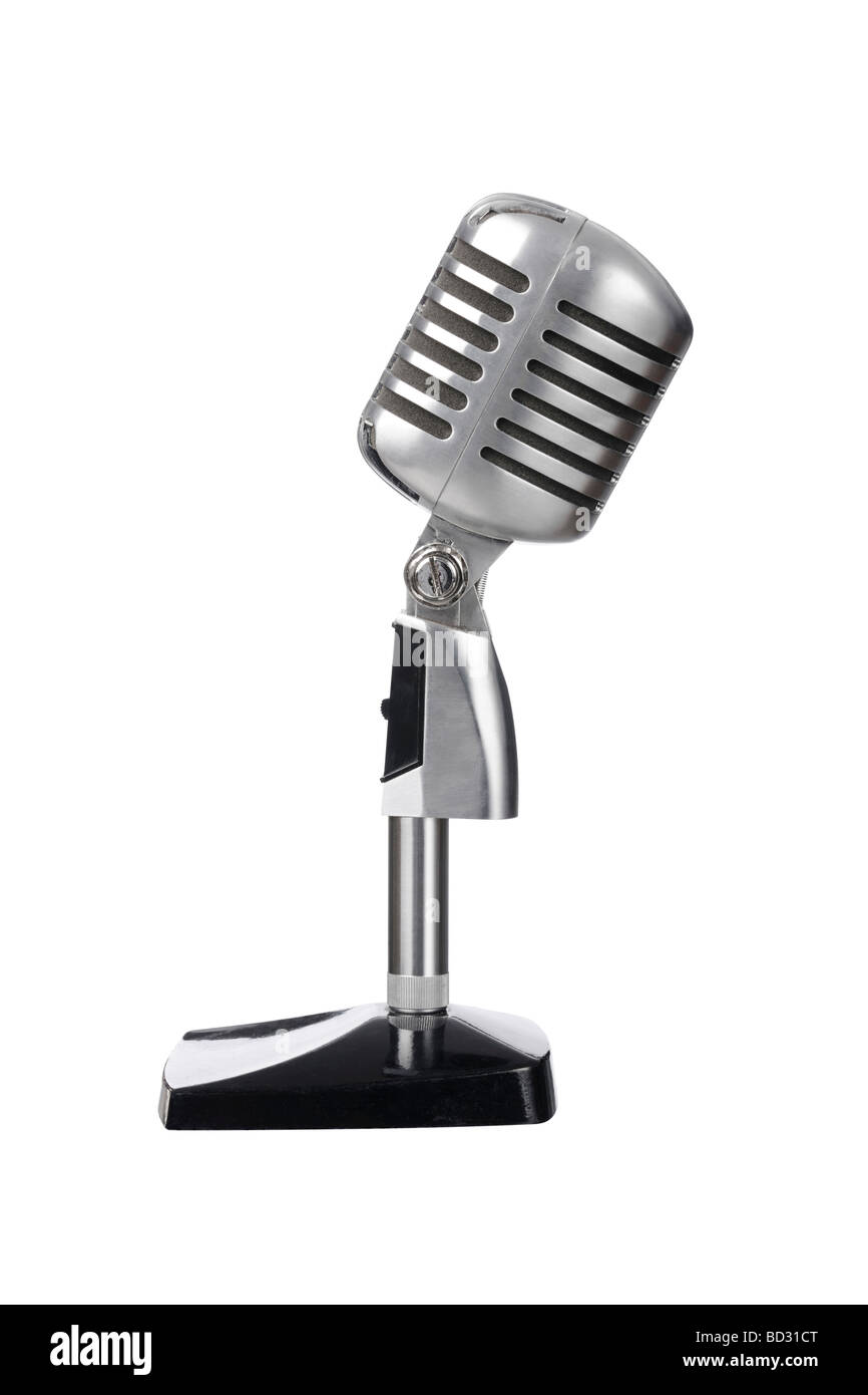 Mic microphone vintage old - Stock Image