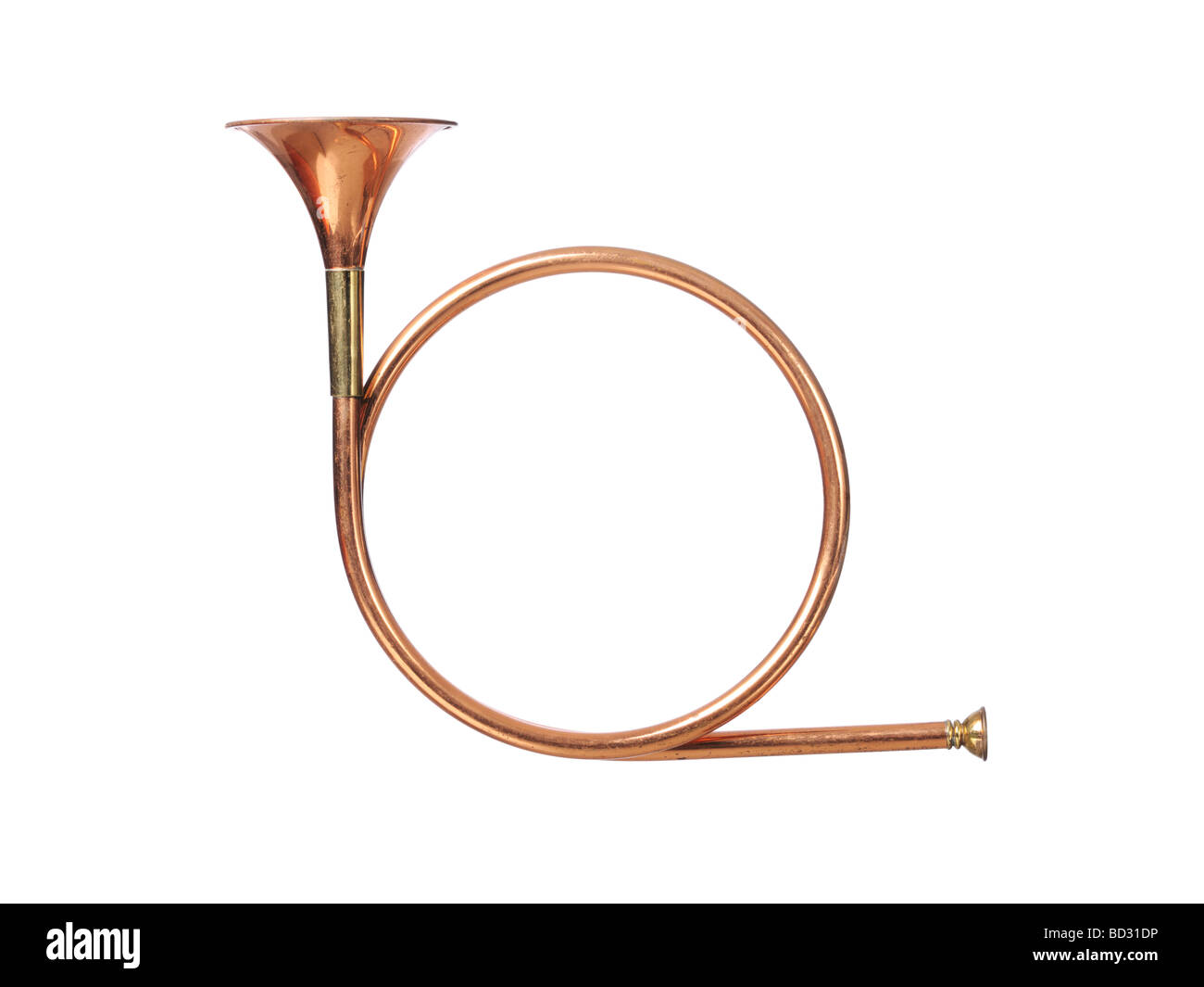 Brass hunting horn parforce Stock Photo
