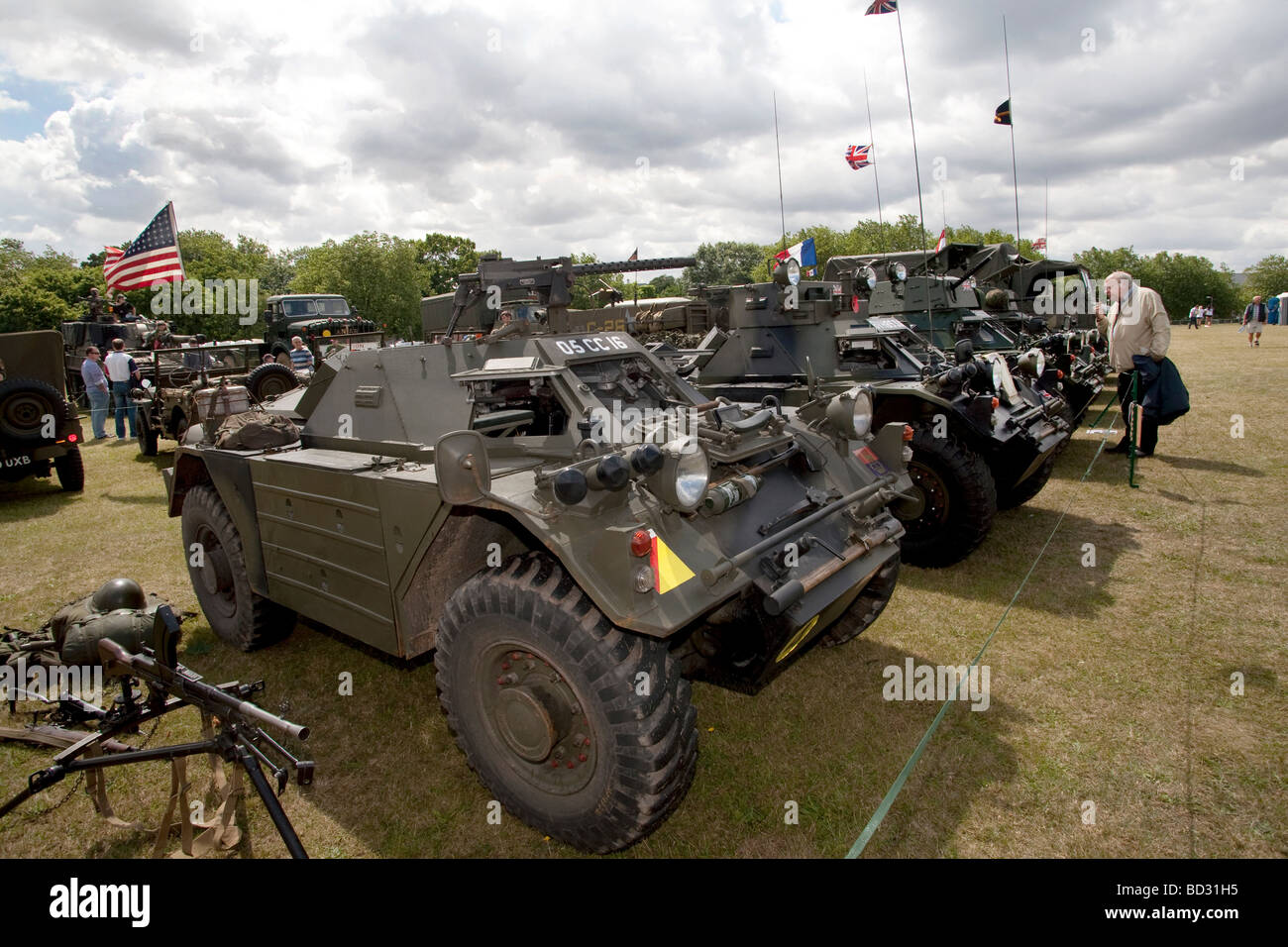 Military armored vehicles are displayed at the Colchester Military Festival in Colchester, Essex, England Stock Photo