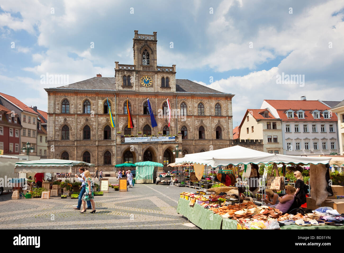 Weimar, Germany, Europe - Town Hall and Market Place in summer Stock Photo