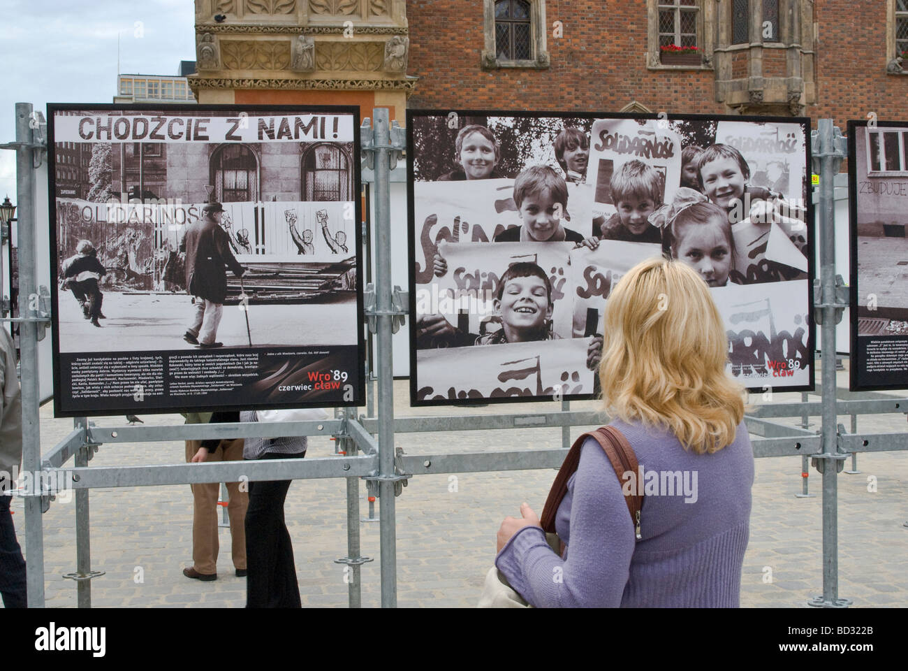 COME WITH US and SOLIDARITY signs in historic photos Wrocław June 1989 communism collapse, displayed June 2009 in - Stock Image