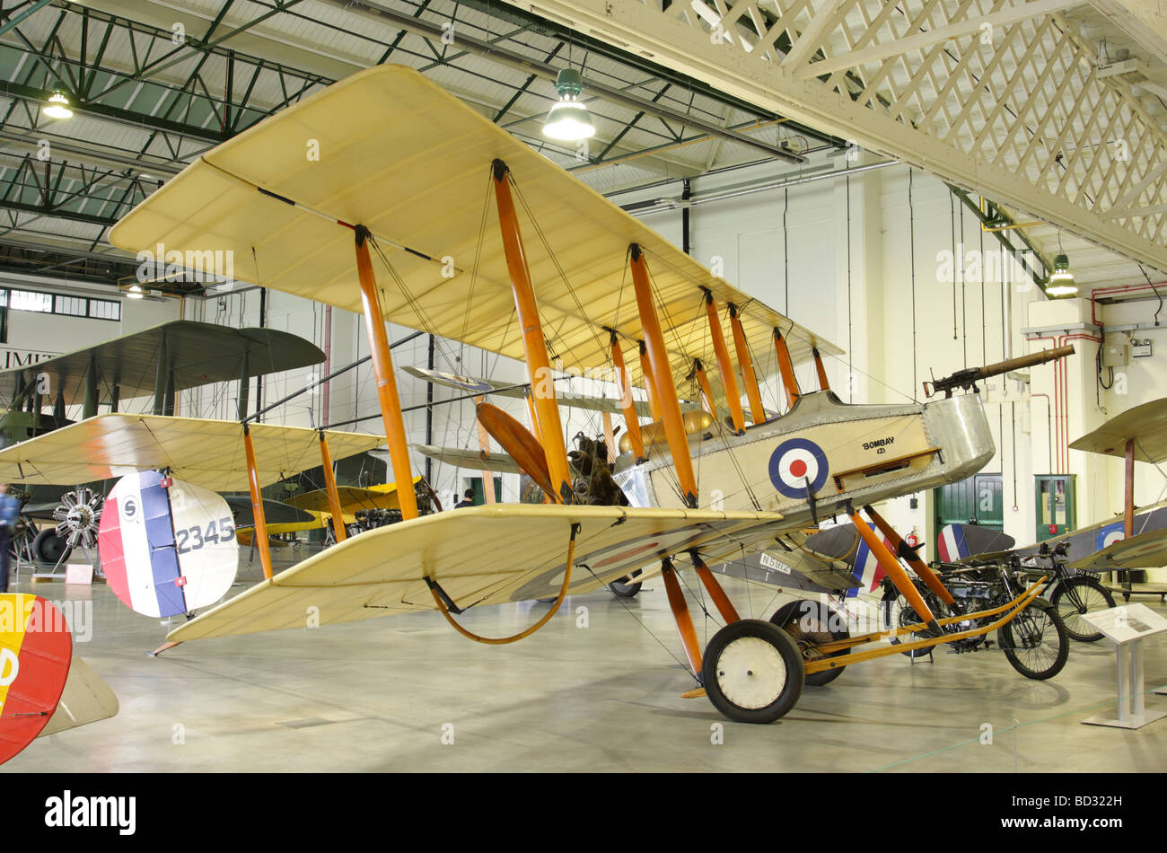 The Vickers F.B.5 currently on display in the Grahame-White Hangar, RAF Hendon, London. - Stock Image