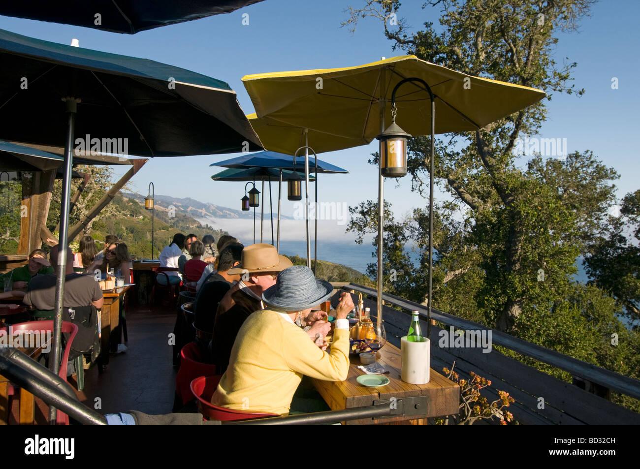 Nepenthe restaurant overlooking  Big Sur California coast - Stock Image