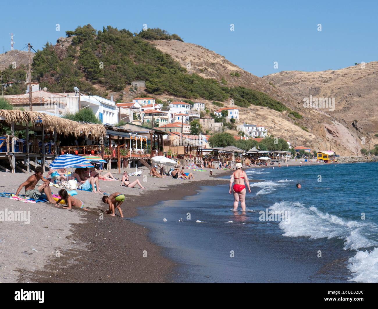 Beach resort at small village of Skala Eresou on Lesvos Island in Greece - Stock Image