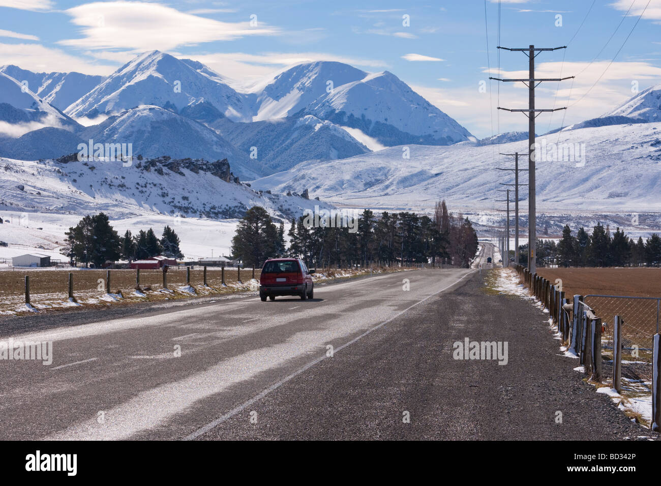 The West Coast Road through Arthurs Pass in Canterbury New Zealand seen at Castle Hill in winter - Stock Image