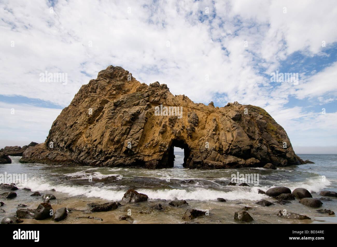 Keyhole rock Pfieffer state beach Big Sur California coast - Stock Image