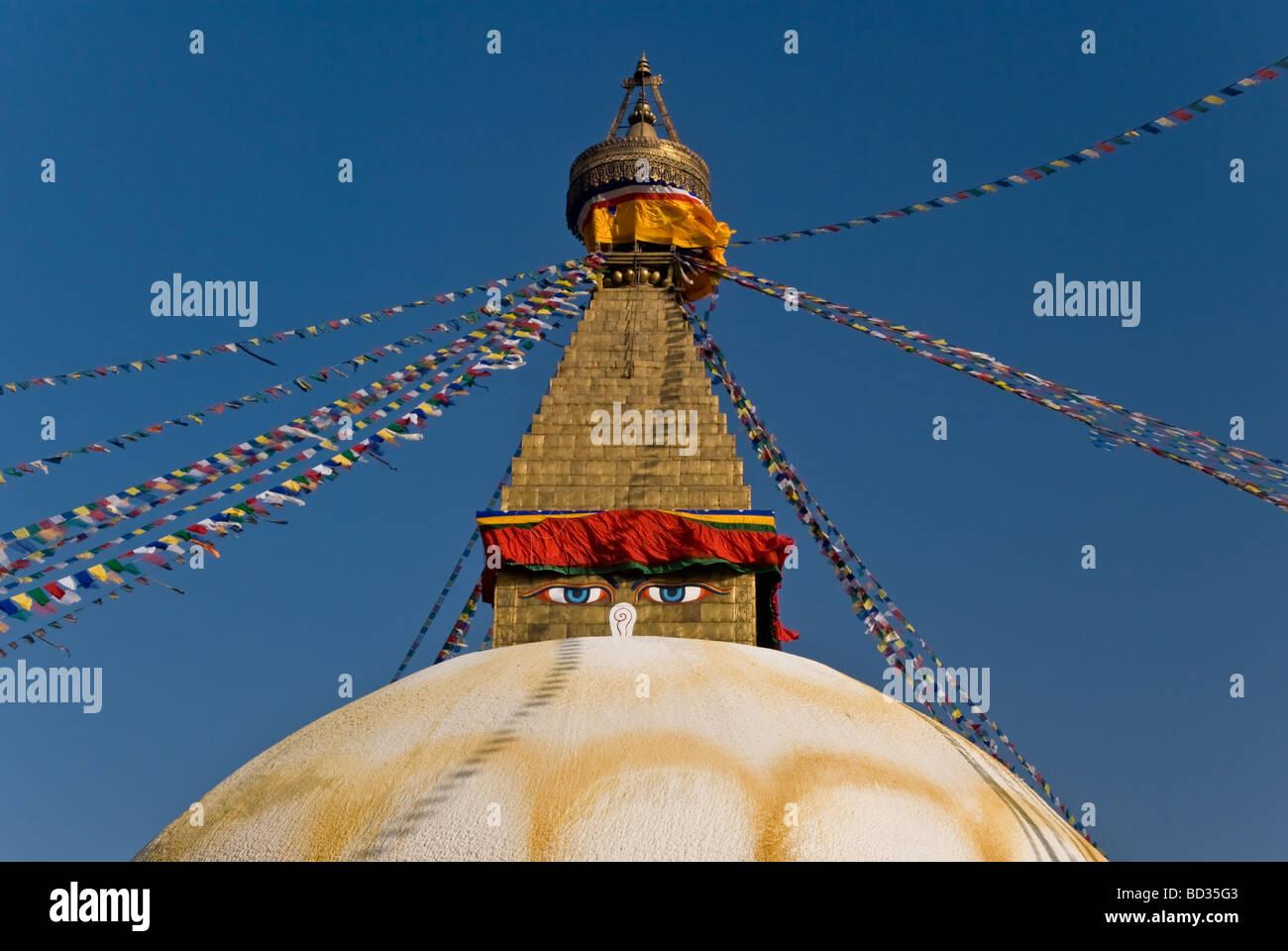 Bodnath stupa, Kathmandu Valley, Nepal, Asia - Stock Image