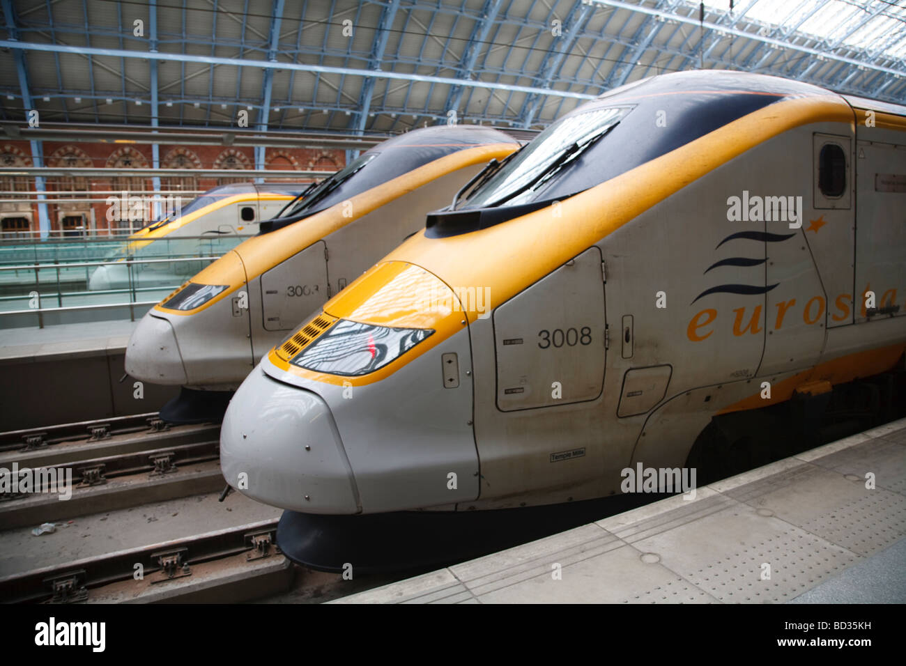 Eurostar trains stand on a platform at St Pancras International Station, London, UK - Stock Image