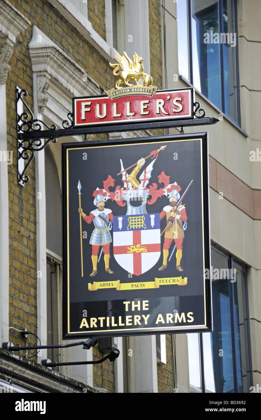 The Artillery Arms Fuller's pub sign Bunhill Row Islington London England UK - Stock Image