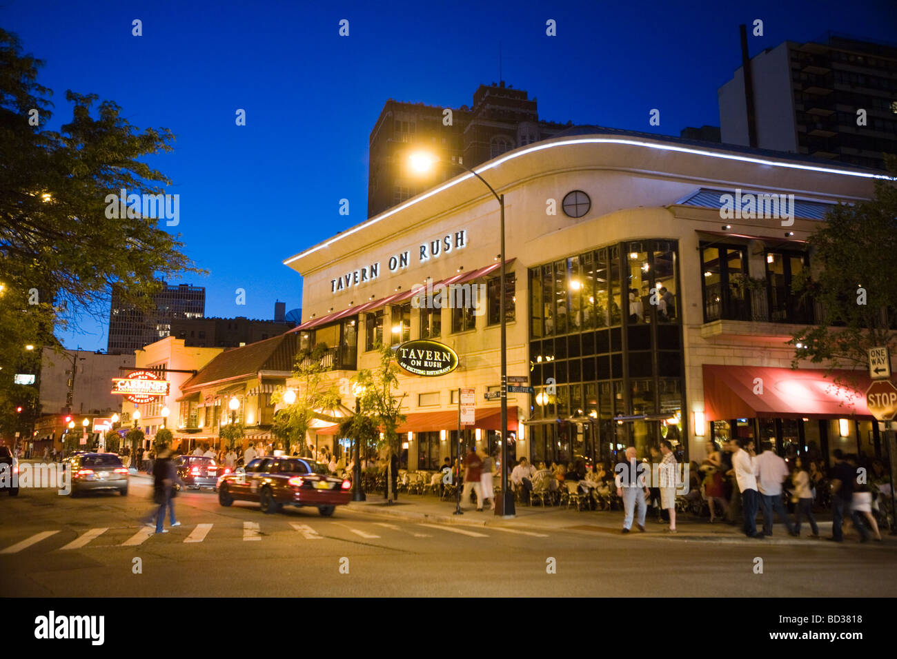 Nightlife on Rush Street part of Gold Coast Chicago Illinois - Stock Image