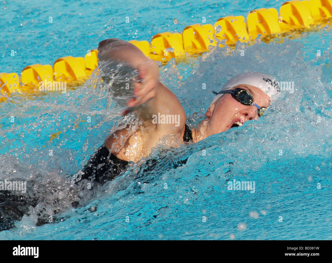 Britta Steffen GER competing in the 100m freestyle at the FINA World Swimming Championships Rome Italy - Stock Image
