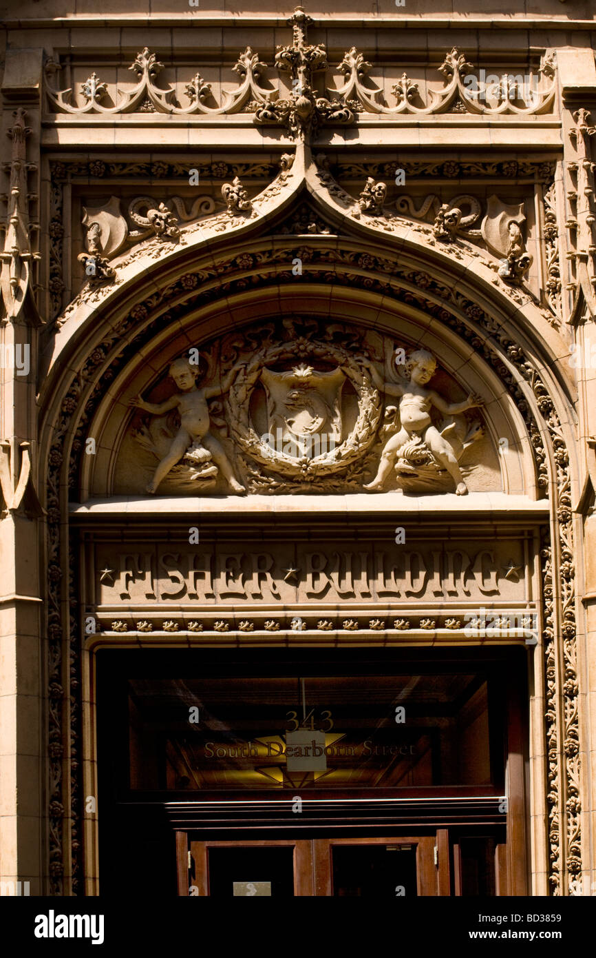 Fisher Building detail Chicago Illinois - Stock Image