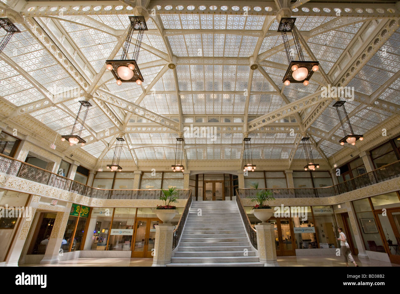 The Rookery Building Frank Lloyd Wright remodeled interior Chicago Illinois Stock Photo
