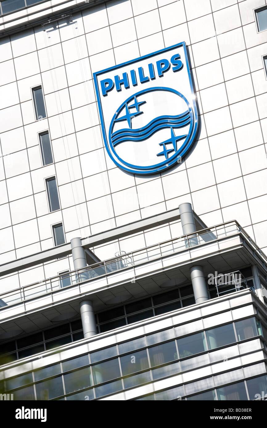 The company logo on Dutch electronics multinational Koninklijke Philips Electronics headquarters in Amsterdam, Holland. - Stock Image
