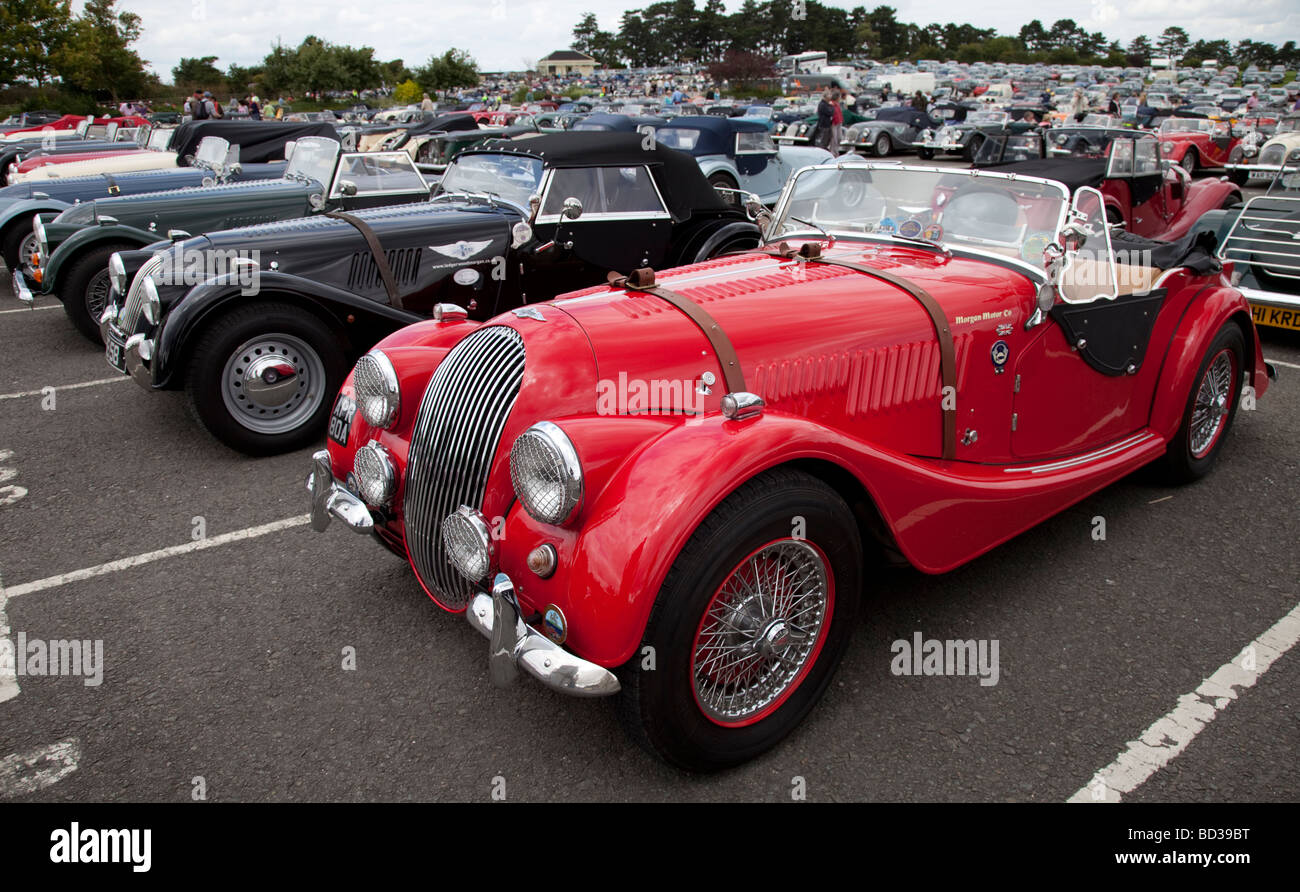 Line up of Morgan two seater sports cars at centenary celebrations Cheltenham Racecourse UK August 2009 - Stock Image