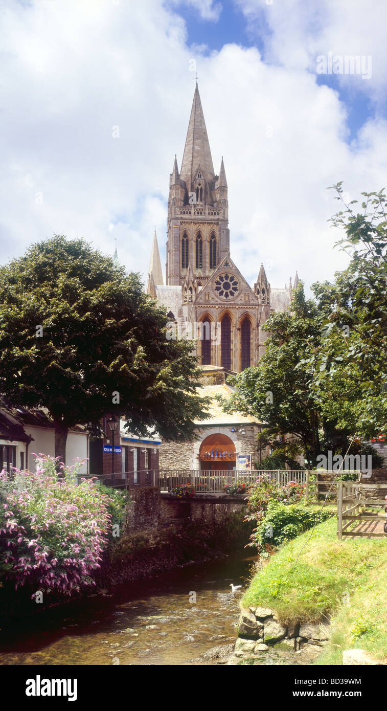 Truro Cathedral and the River Allen, Cornwall England - Stock Image