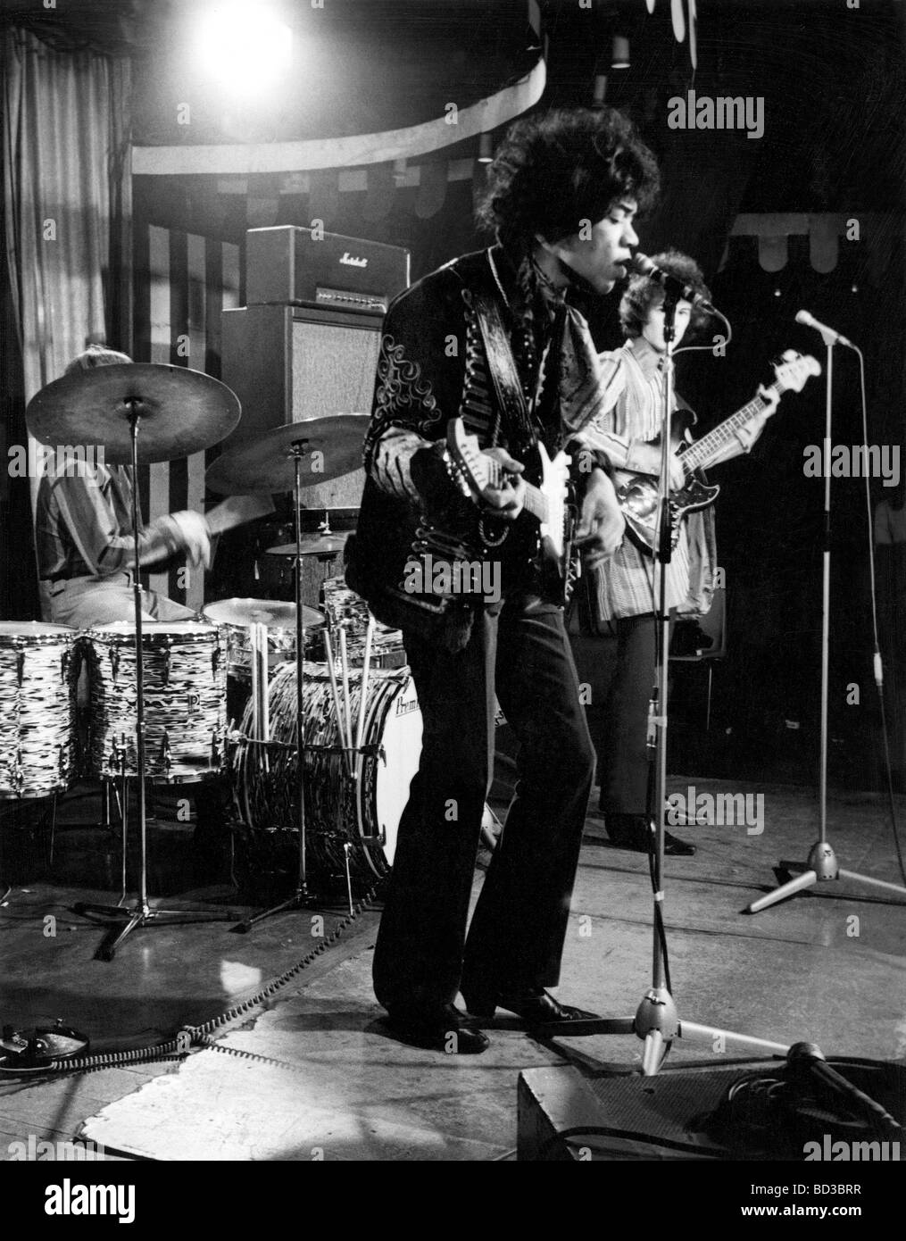 THE JIMI HENDRIX EXPERIENCE recording a set for German TV at the Marquee Club in Wardour Street  on 2 March 1967 - Stock Image