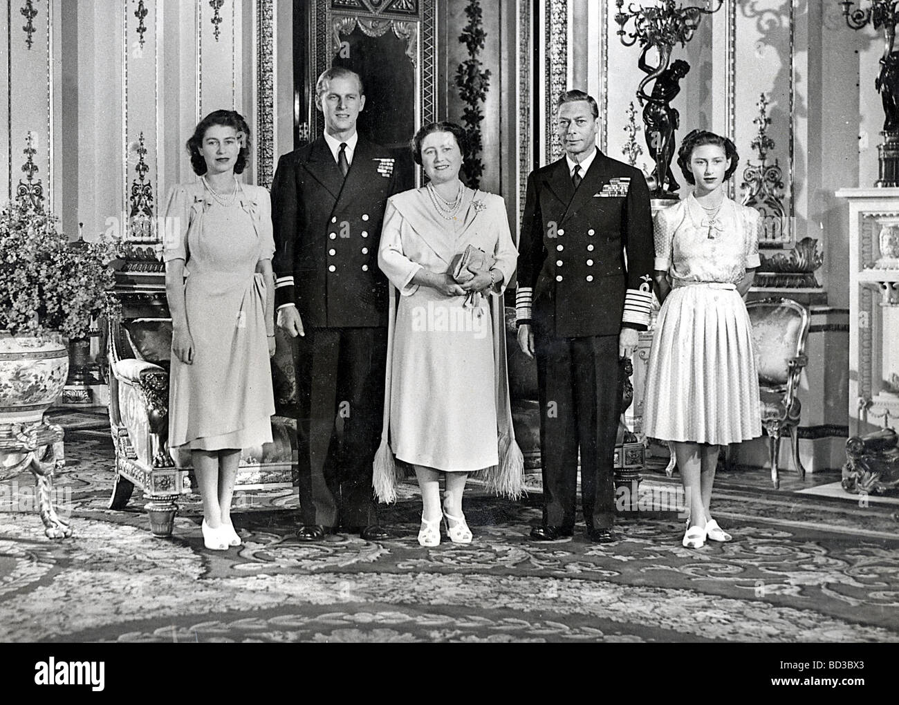 PRINCESS ELIZABETH ENGAGEMENT 1947 From left: Princess Elizabeth, Prince  Philip, Queen Mother, King George VI, Princess Margaret