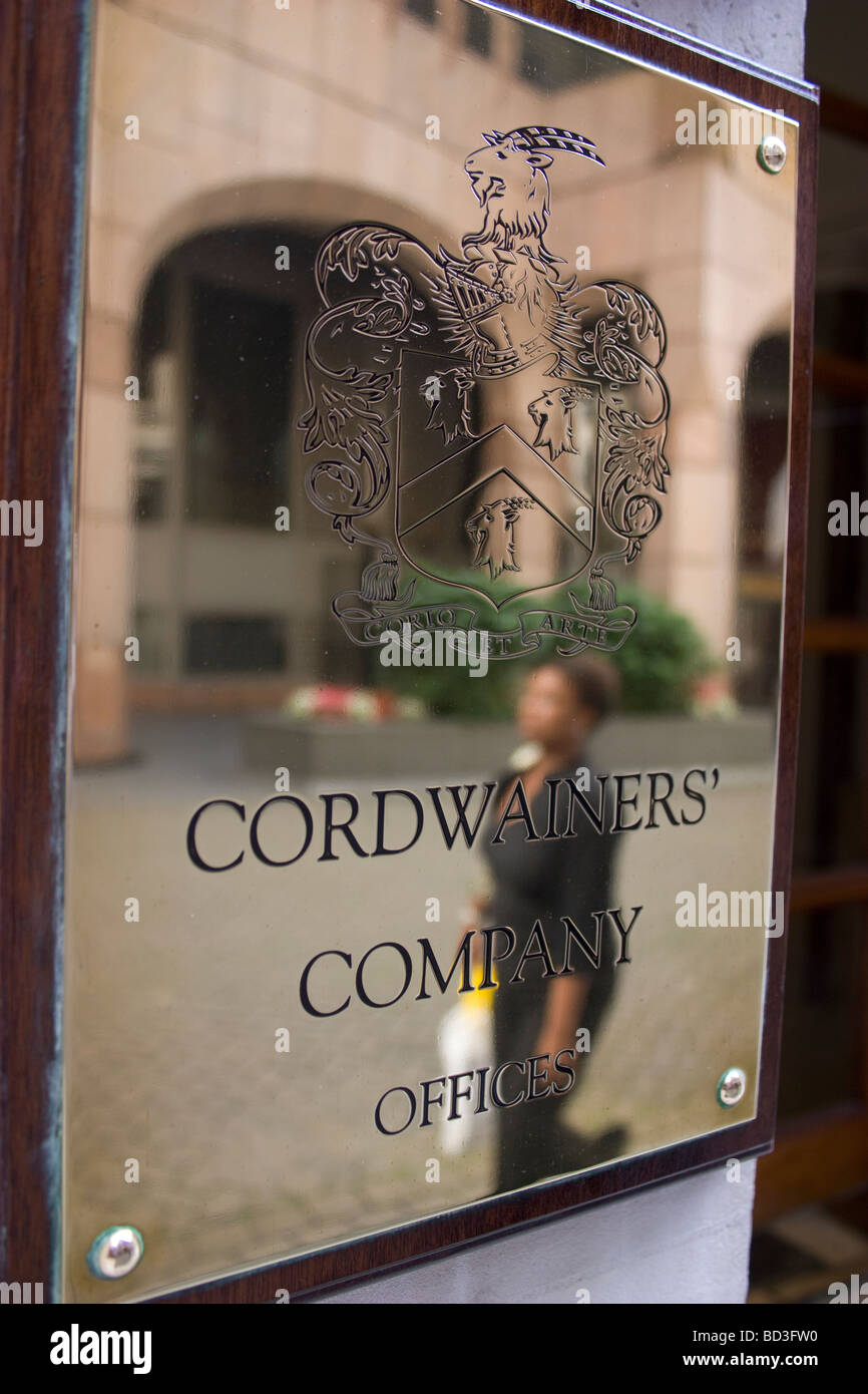 cordwainers company offices plaque central london - Stock Image