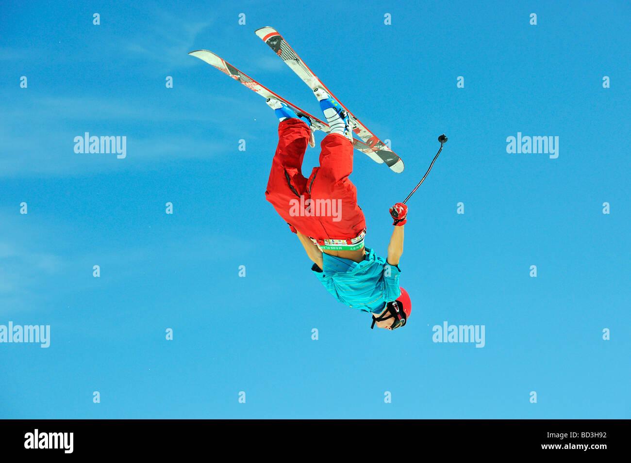 Skier back flip in total control - Stock Image