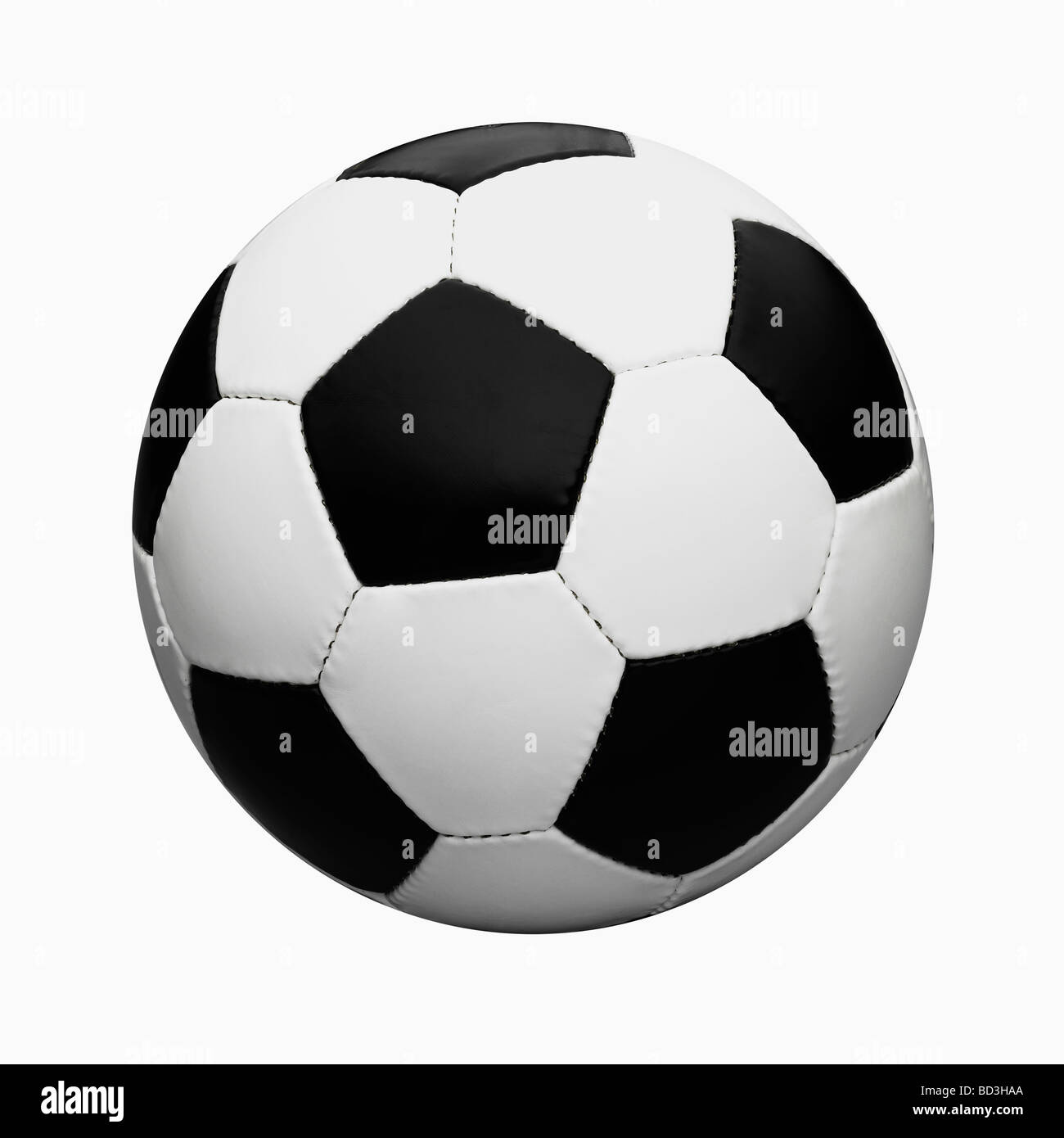 Black and White  Leather Football / Soccer Ball Cut Out On White Background. - Stock Image