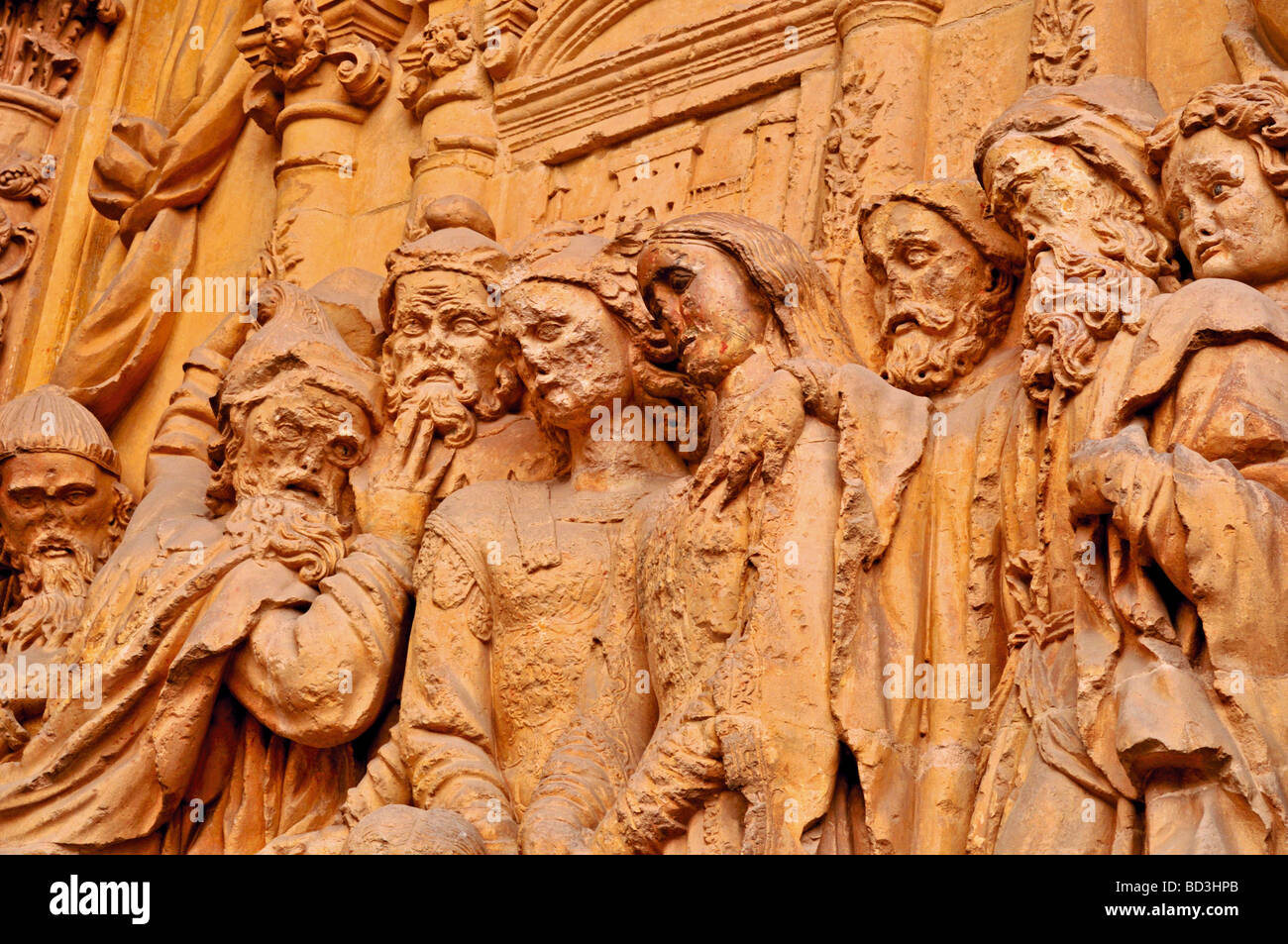 Spain, Astorga: Architectonical detail of the Cathedral´s portal - Stock Image