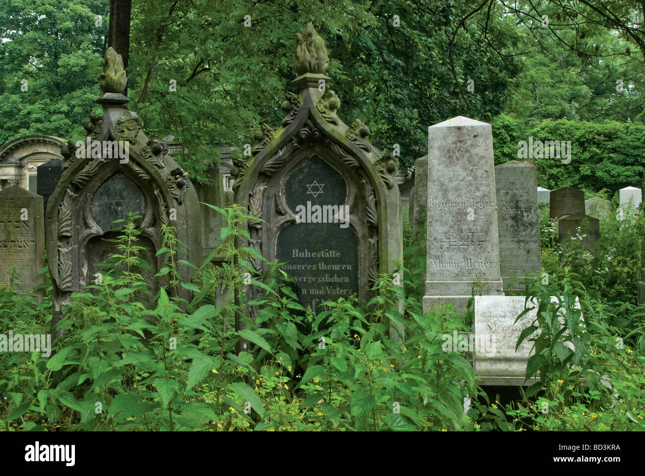 Tombstones at Jewish Cemetery in Wrocław Lower Silesia region Poland - Stock Image
