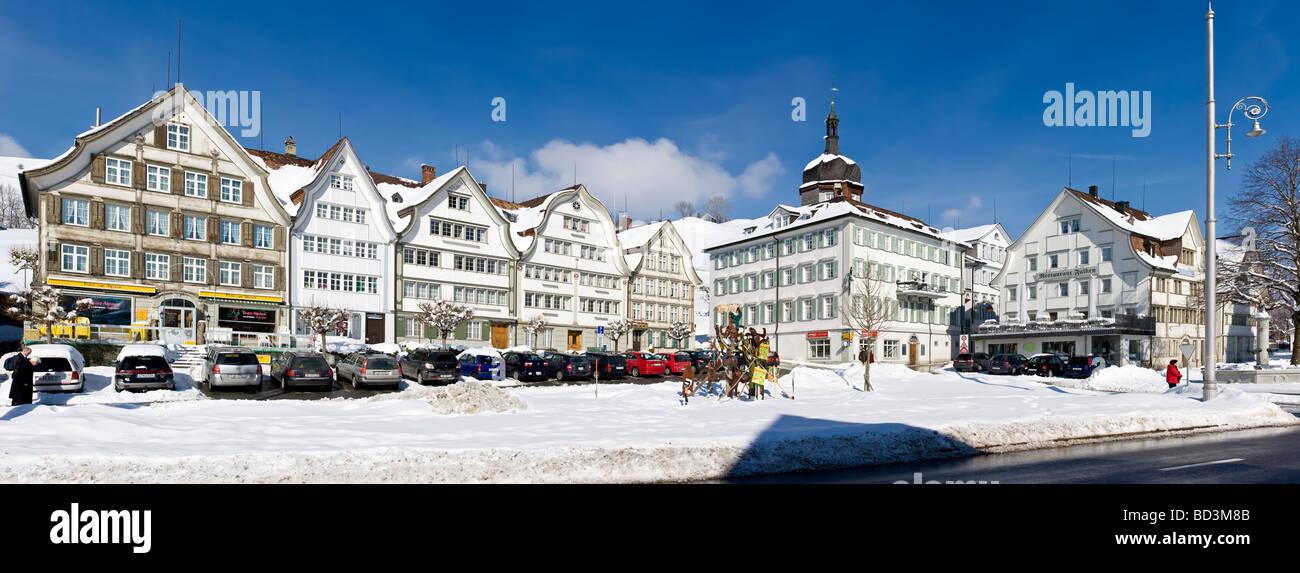 Gais Village Center Winter Panorama Appenzell Switzerland