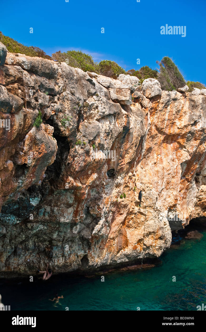 Mallorca Majorca Cala Varques Freeclimbers - Stock Image