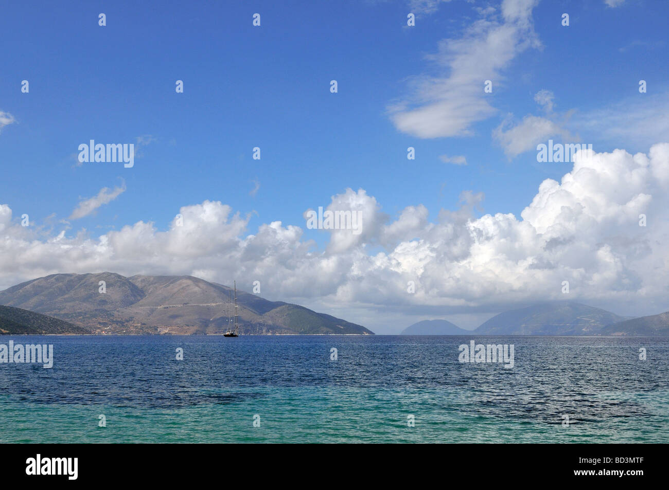 Ionian islands in the Greece sea token from Kefalonia with a view on Ithaca - Stock Image