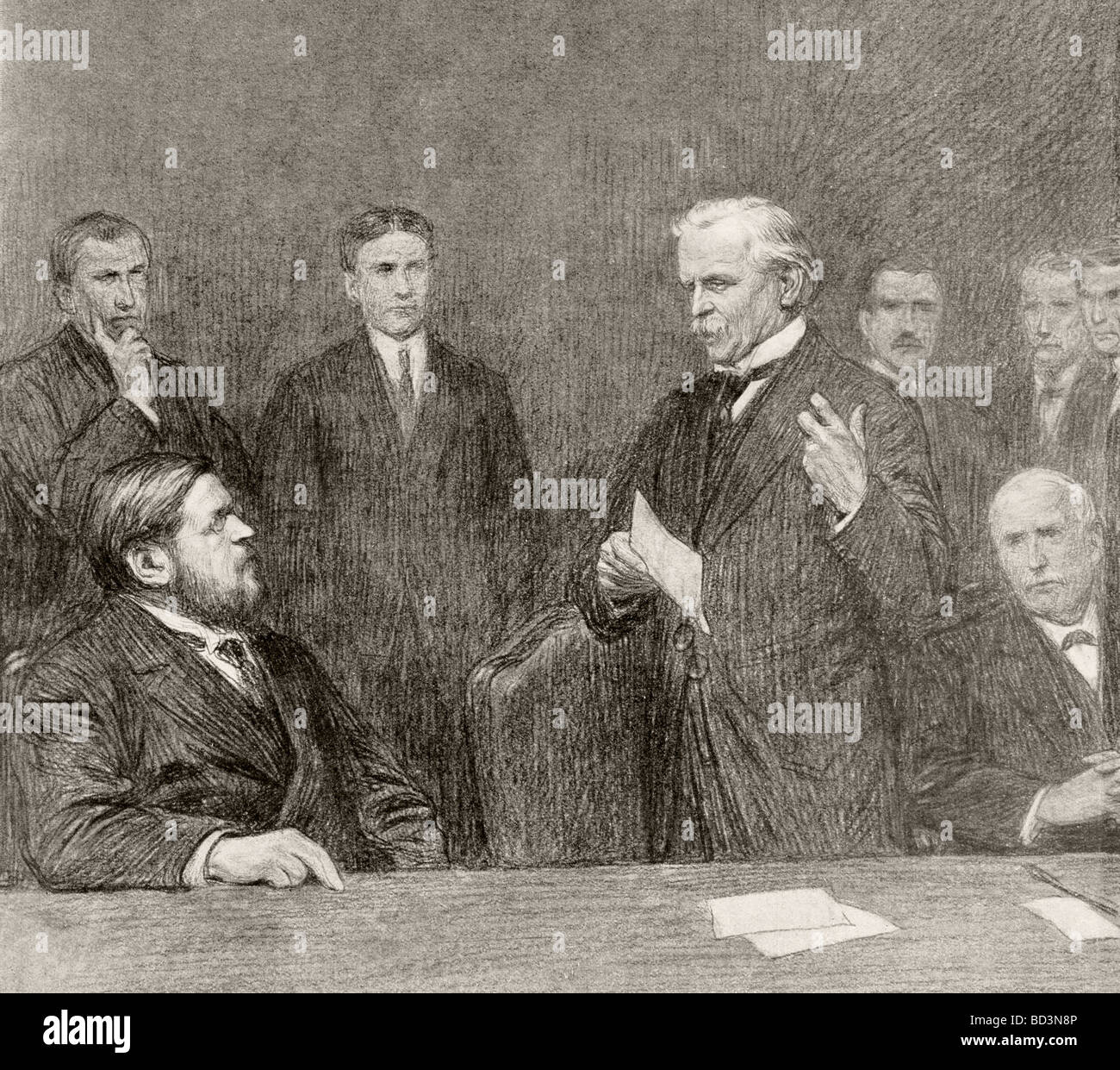 Lloyd George speaks to delegates of the Trade Unions and the French ex Minister of Armament Albert Thomas. - Stock Image