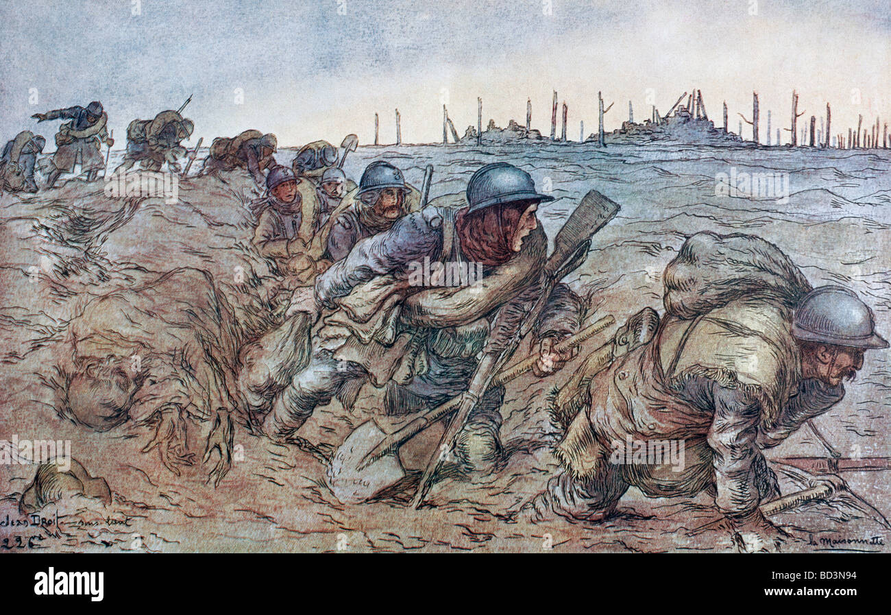 French soldiers working their way through the mud of the Somme battlefield - Stock Image
