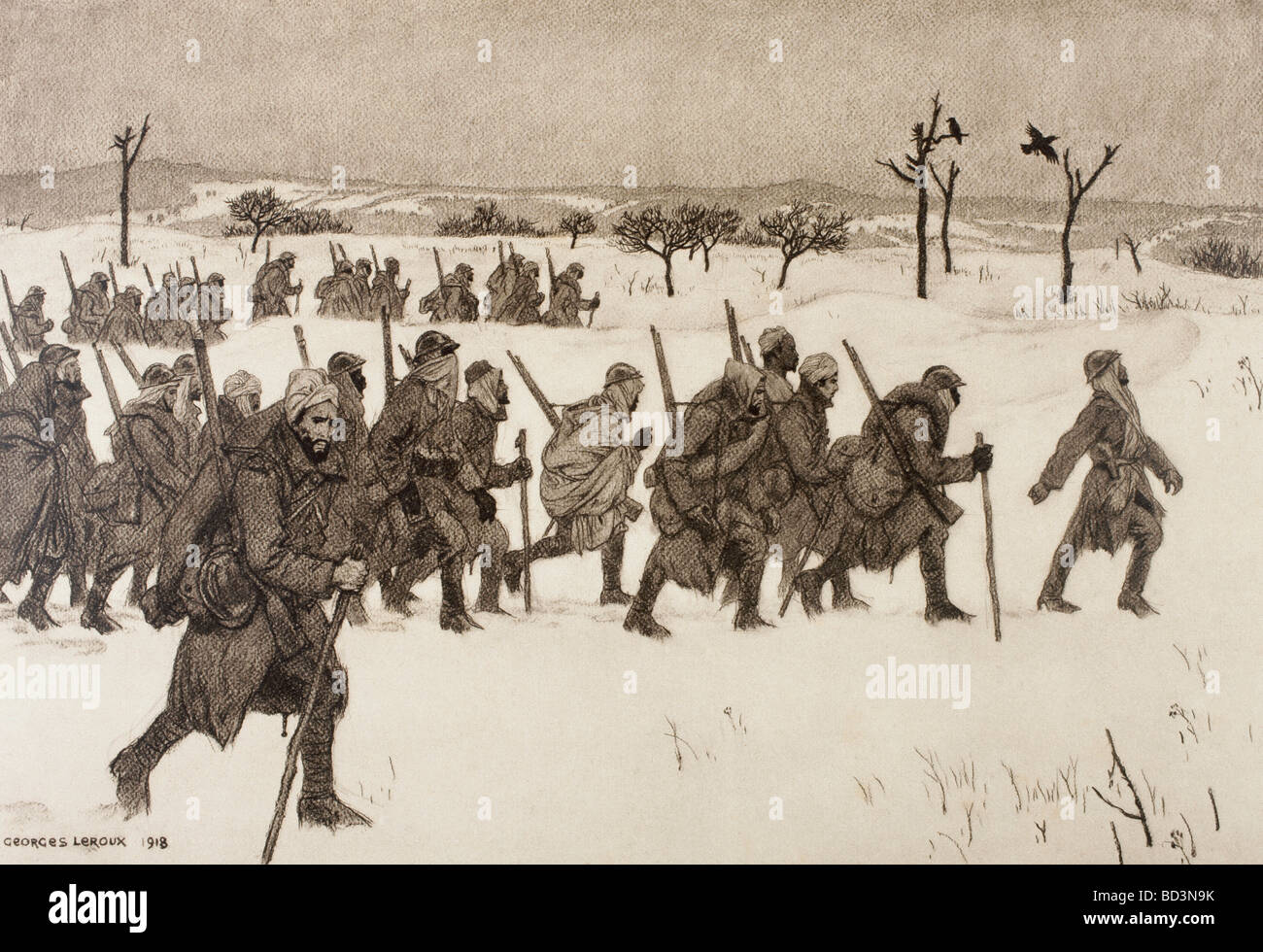 Moroccan soldiers advancing through the snow to the front line during the First World War. - Stock Image