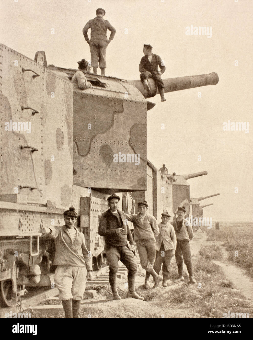 An armoured train mounted with 190 calibre cannons. - Stock Image