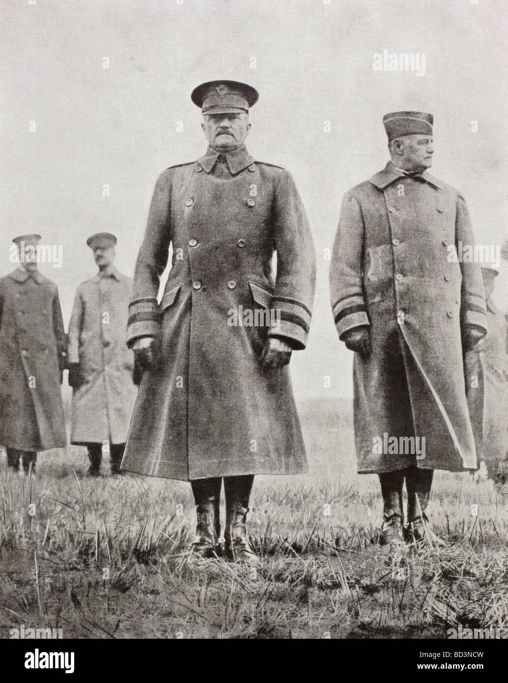 American First World War Generals, John Joseph Black Jack Pershing centre and Hunter Ligget right. - Stock Image