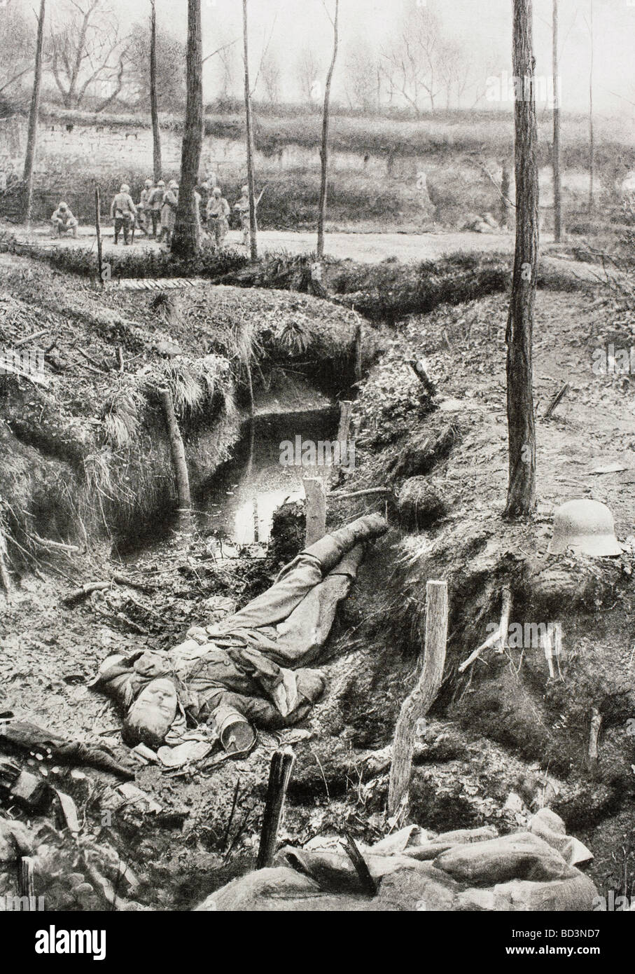 German dead on the Western Front during the First World War. - Stock Image