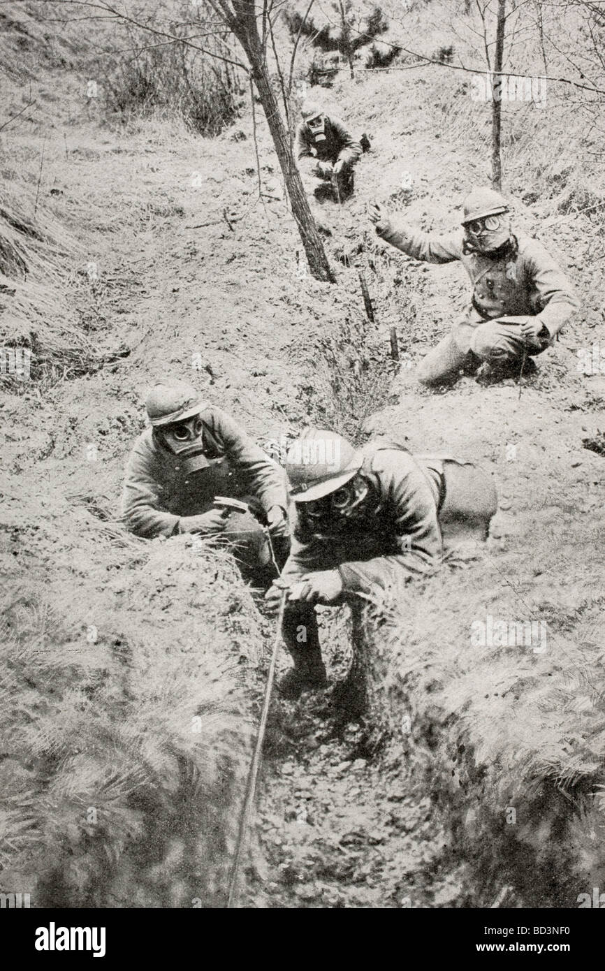 French Soldiers Wearing Gas Masks Lay Telephone Lines Behind The