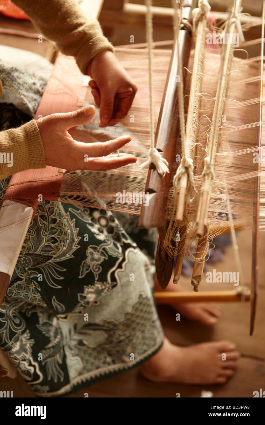 silk weaving in Luang Prabang Laos - Stock Image