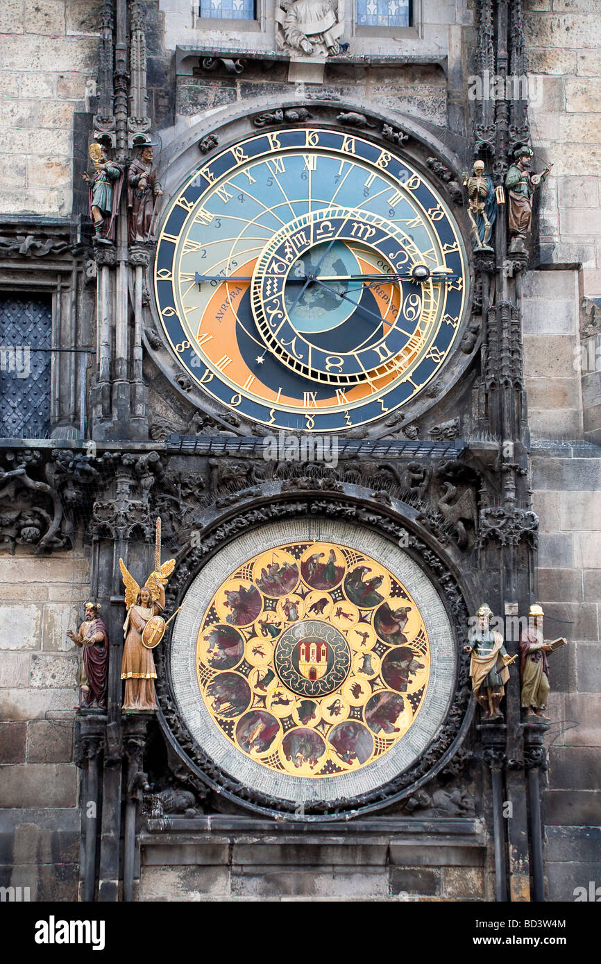 Astronomical clock in Old Town Square Prague - Stock Image